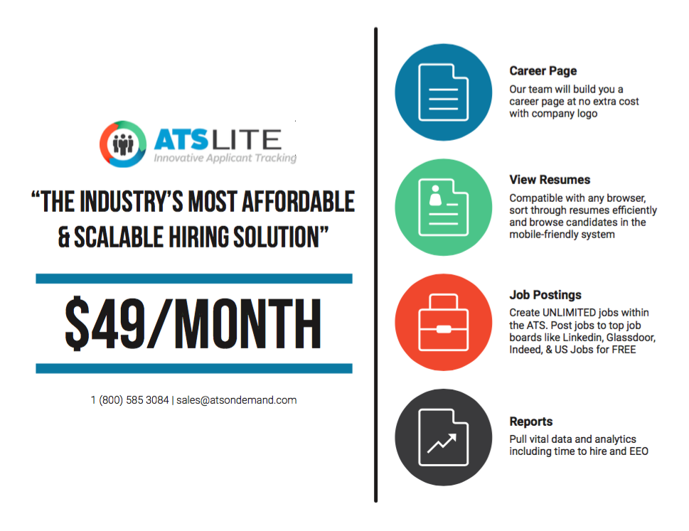 Ats Ondemand Introduces Ats Lite Two Step Hiring For 49 Month Ats Ondemand